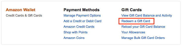 Amazon redeem Gift Card