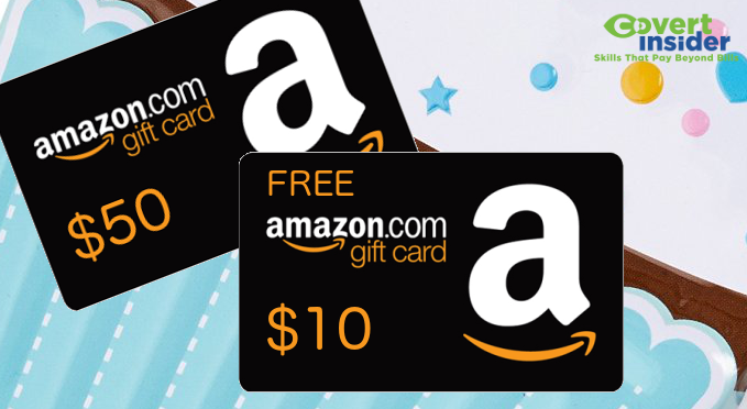 free 10 amazon gift card promo with 50 gift card covert insider
